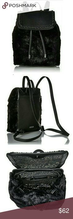 """Jessica Simpson Kaleo Backpack Jessica Simpson Kaelo Faux Fur Backpack amazingly cute and perfect for everyday use. Three storage compartments inside. One with a zipper. The dimensions are as follows; 11.5"""" x 4.5"""" x 13"""" Jessica Simpson Bags"""