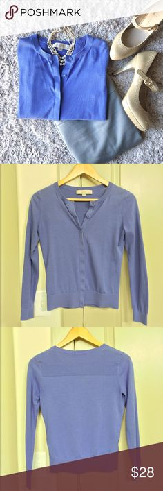 Classy LOFT Cardigan Lovely cotton cardigan by Ann Taylor LOFT. True periwinkle color (the color is a bit hard to photograph.) hidden buttons. Makes outfits look very polished! LOFT Sweaters Cardigans