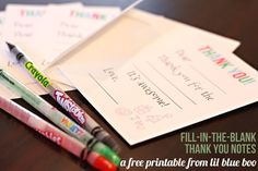 Free printable fill in the blank thank you notes for kids Christmas presents :-)