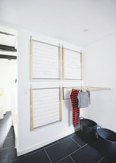 four wall mounted drying racks (from Ikea!) to create an instant indoor drying room - super great space saving idea {remodelista} Laundry Room Design, Laundry In Bathroom, Basement Laundry, Ikea Laundry Room, Laundry Room Ideas Garage, Ikea Bathroom Storage, Basement Office, Small Laundry Rooms, Bathroom Closet
