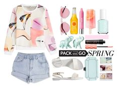 """""""Spring Getaway"""" by modern-instinct ❤ liked on Polyvore featuring Illesteva, Clinique, Kenzo, Old Navy, Edie Parker, Benefit, Essie, Polaroid, Band of Outsiders and travel"""