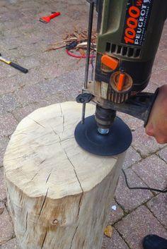 Bricoler- Une bûche dans l'entrée. tronc . souche. bois. tuto facile.  DIY.  Log - tree stump stool. wood furniture. une semaine à paris-forêt