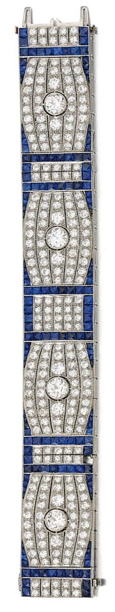 Sapphire and diamond bracelet, circa 1930 Estimate: 28,000 - 38,000 CHF The articulated band millegrain-set with circular-cut diamonds, framed with rows of similarly-cut stones, highlighted with calibré-cut sapphires. Image Sotheby's