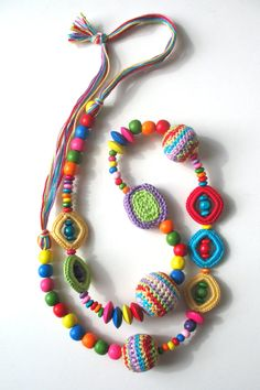 Multi-colour crochet necklace