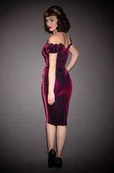 c7cdb476dfd1 1950's style magenta velvet Bardot off the shoulder Fatale wiggle dress by the  Pretty Dress Company