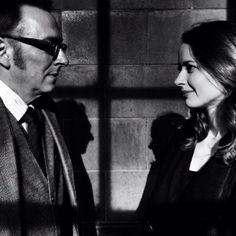 """Michael Emerson as Harold Finch and Amy Acker as Samantha """"Root"""" Groves on Person of Interest."""