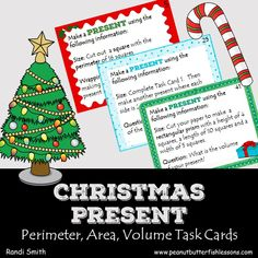 Christmas Present Perimeter, Area, Volume Task Cards - peanut butter fish lessons Christmas Story Books, Christmas Math, Christmas Presents, Christmas Tree Pictures, Give Directions, Chapter Books, Cool Cards, Task Cards, Math Activities