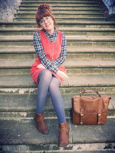 Casual (dress if longer) shirt jumper bag tights shoes hair glasses