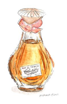 Watercolor tea towel of vintage perfume bottle by marleyungaro Bottle Drawing, Lilac Sky, Watercolor Fashion, Brewing Tea, Vintage Perfume Bottles, Still Life Art, Bottle Art, Botanical Illustration, Female Art