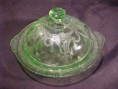 vintage green cameo butter with lid--hocking glass co.