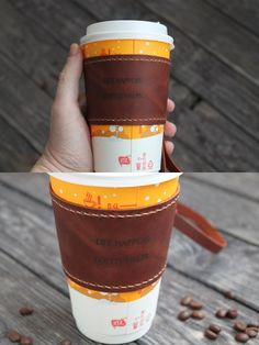Hand made leather coffee cup sleeve. Made from hight quality italian wax leather. It's a great gift for everyone who loves coffe or tea and a great idea for original gift! Leather Notebook, Leather Journal, Coffee Shop, Coffee Cups, Coffee Cup Sleeves, Coffee Lover Gifts, Leather Cover, Candle Jars, Wax
