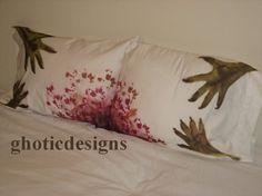 Zombie Pillows. Scary Zombie pillowcases. Zombie bedding Size Standard via Etsy