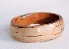 oval birch bark transparent eco resin bangle bracelet. $70.00, via Etsy.