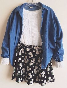 floral skirt// white// jean shirt