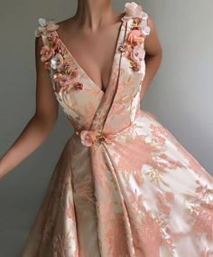 Details - Light pink color - Designed Taft fabric - Embroidery flowers - A-line with V-neck dress style with waist definition - Party and Evening dress Elegant Dresses, Pretty Dresses, Floral Evening Dresses, Rose Gown, Prom Dresses, Formal Dresses, Girls Dresses, Beautiful Gowns, Dream Dress