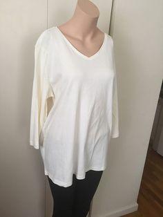 Womens Plus 1x Top/Tee White 3/4Slv cotton CJ Banks layering piece V Neck  | eBay