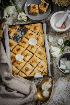 Baklava With Walnuts, Orange Blossom Water And Rosewater