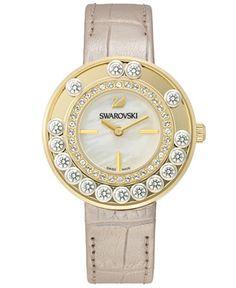 Swarovski Women's Swiss Lovely Crystals Light Gold Calfskin Leather Strap Watch 35mm - Jewelry & Watches - Macy's