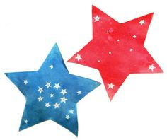4th of July Watercolor Stars