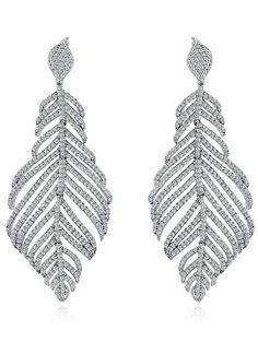 Rhinestoned Leaf Wedding Jewelry Earrings