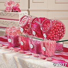 This bulk candy assortment has all you need to create a classic candy buffet. This pink candy buffet assortment makes a wonderful addition to birthday parties, pink ribbon events, bachelorette parties and baby girl baby showers! Pink Candy Buffet, Candy Buffet Tables, Wedding Candy Buffet, Pink Dessert Tables, Pink Desserts, Pink Parties, Sweet 16 Parties, Birthday Parties, Bonbons Baby Shower