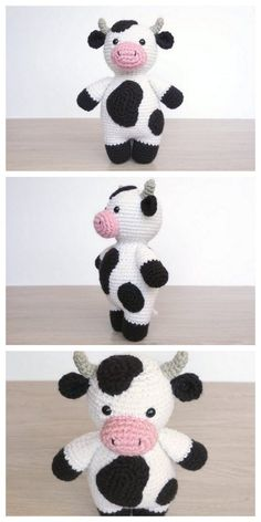 Amigurumi Little Cute Cow Free Pattern Amigurumi Free Patterns And Tutorials Crochet Cow, Crochet Amigurumi Free Patterns, Crochet Animal Patterns, Stuffed Animal Patterns, Crochet Crafts, Crochet Projects, Free Crochet, Crochet Ideas, Cow Pattern
