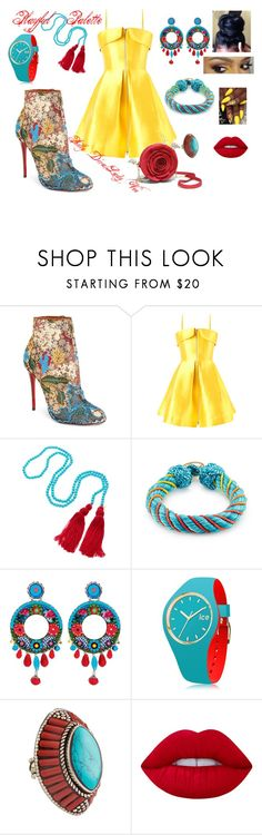 """""""Playful Palette"""" by philly-diva ❤ liked on Polyvore featuring Christian Louboutin, Alex Perry, Kenneth Jay Lane, Aurélie Bidermann, Ayala Bar, Ice-Watch, Devon Leigh and Lime Crime"""