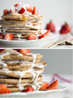 Easy Vegan and Gluten-Free Pancakes (Strawberry Shortcake w/ Whipped Cream) via #ohsheglows - catching up on posts, this is incredible!