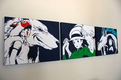 Studio Ghibli Canvas SetPrincess Mononoke Howl's by POPCanvasArt
