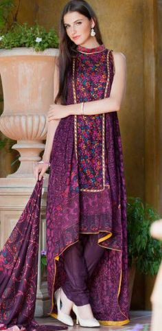 Dark Pruple Cotton Lawn Shalwar Kameez Dress $49.99 DESIGNER LAWN 2014 Pakistani Indian Dresses Online, Men Women Clothing and Shoes | PakRobe.com