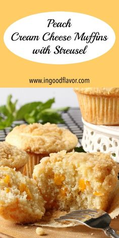 Peach Cream Cheese Muffins with Streusel are wonderfully tender and with an abundance of soft peach chunks. They are topped with smooth layer of cream cheese and finished off with a sprinkling of buttery streusel. #muffins #peach #dessert #streusel #creamcheese
