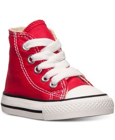 Converse Toddler Boys' or Baby Boys' Chuck Taylor Hi Casual Sneakers from Finish Line - Red 10 Baby Boy Fashion, Toddler Fashion, Toddler Outfits, Boy Outfits, Kids Fashion, Fall Fashion, Baby Sneakers, Casual Sneakers, High Top Sneakers