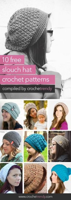 10 Free Slouch / Slouchy Hat Crochet Patterns roundup via Crochetrendy Slouch Hat Crochet Pattern, Bonnet Crochet, Crochet Beanie, Knitted Hats, Crochet Patterns, Hat Patterns, Slouch Hats, Mode Crochet, Knit Or Crochet