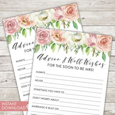 Printable | Bridal Shower Game | Advice | Well Wishes | Instant Download | PDF | Pastel | Blush | Florals | Spring Theme | Game Card | PDF Picture Thank You Cards, Bachelorette Card, Bridal Games, Printable Bridal Shower Games, Spring Theme, Bridesmaid Cards, Pastel Floral, Rose Gold Foil, Cards For Friends