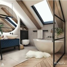 scandinavian bathroom Bathroom Inspiration // MaNaZa The Perfect Scandinavian Style Home Loft Bathroom, Dream Bathrooms, Beautiful Bathrooms, Modern Bathroom, Small Bathroom, Bathroom Flooring, Kitchens And Bathrooms, Bathroom With Window, Minimalist Bathroom Design