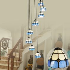 59.99$  Watch now - http://ai51v.worlditems.win/all/product.php?id=32789224082 - Double staircase lights Mediterranean stairs Tiffany Pendant Lights rotating stairs, lamps, light, simple stairs, Pendant lamps