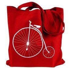 Tela Tote Bag  Penny Farthing Bike stampa sul sacchetto rosso