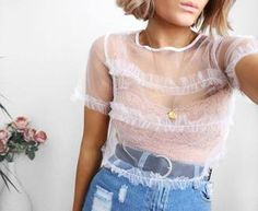 $35 - $55 Cute See-Through Sheer Mesh White Cropped Summer T-Shirt With Lace Underbra And High Waisted Denim Mom Jeans