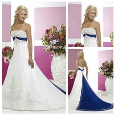 White and Royal Blue Wedding Dress