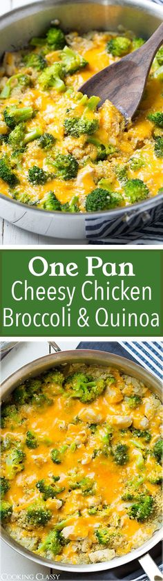 One-pan cheesy chicken broccoli and quinoa recipe! It's easy, healthy and delicious!