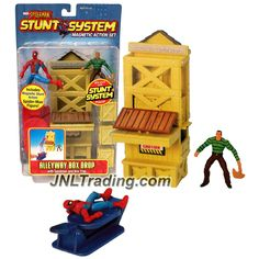 ToyBiz Year 2006 Marvel Spider-Man Stunt System Magnetic Action 3 Inch Tall Figure Set - ALLEYWAY BOX DROP with Spider-Man, Sandman and Box Trap