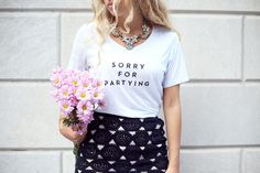 Sorry For Partying. Playful tee + glam necklace | styled by @Camilla Sentuti (Glamgerous)