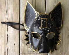Full Gemini Mystic Wolf Mask with Western Zodiac Symbol and corresponding Constellation, All symbols available! Animal mask, LARP, Halloween You are in the right place about Astrology party decoration Kitsune Maske, Wolf Maske, Japanese Mask, Leather Mask, Zodiac Symbols, Animal Masks, Masks Art, Diy Mask, Mask Design