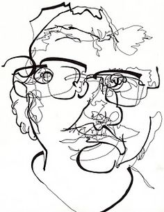 Blind contour with varying pen widths. There is an honesty and humility associated with this type of direct connection with the viewer.
