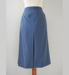 Tailored A-Line Skirt in Dove Blue by Marja-Liisa, M, // Vintage Secretary Skirt Office Chic, Secretary, A Line Skirts, Finland, Trending Outfits, Blue, Etsy, Vintage, Fashion