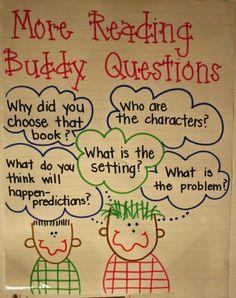 "Partner Reading chart - I am going to make one of these next year for my ""reading buddy"" time.  Love it!"