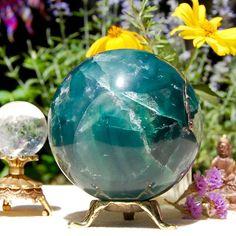 Huge Fluorite Crystal Ball, Quartz Sphere, 95 mm, 1315 Grams, Aqua Blue-Green Crystal Orb, Globe, Receive EXACT Quartz Sphere