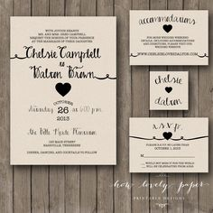 Printable Wedding Invitation Suite the Rayna by HowLovelyPaper