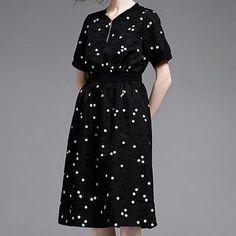 amorAdela - Short-Sleeve Dotted Midi Dress
