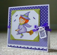 Art Impressions Rubber Stamps: Ai Spinners: Witch Spinner #4679 ... handmade card. Halloween, broom, bats